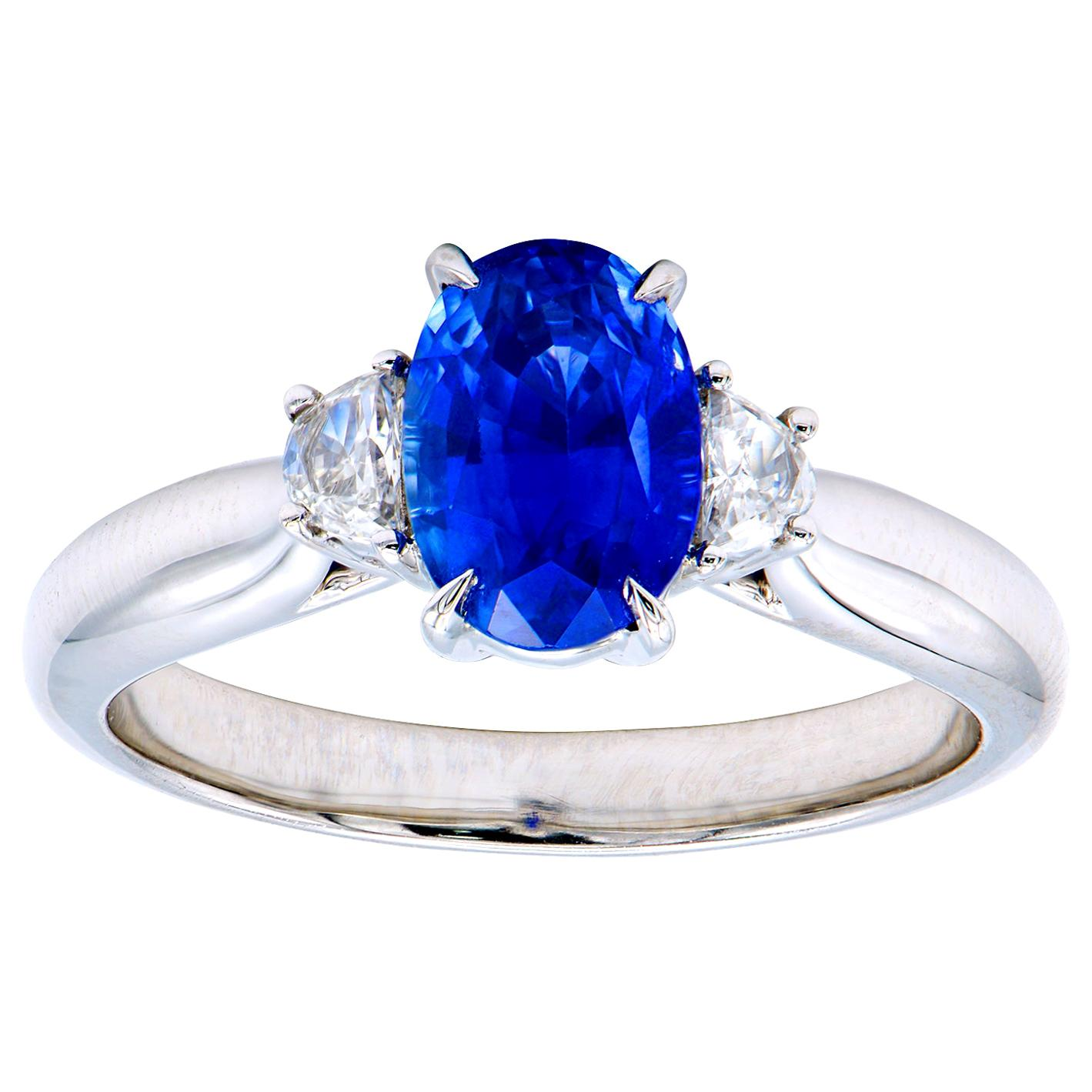 1.8 Carat Oval Sapphire Ring with Half Moon Side Stones