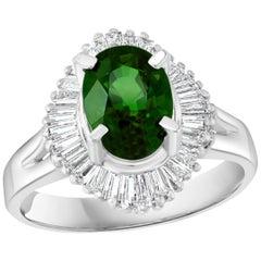 1.8 Carat Oval Tsavorite and 1.0 Carat Diamond Ring in Platinum Estate Size 6