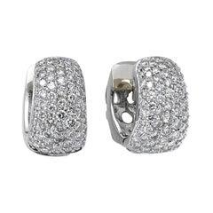 1.8 Carat Pave Diamond Earrings, Gold, Ben Dannie