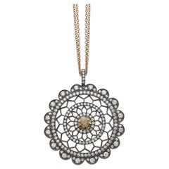 18 Carat Pink and White Gold Round Cut Diamonds Pendant Necklace