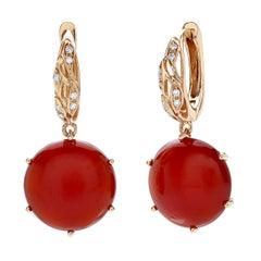 18 Carat Pink Gold Round Cut Diamonds and Carnelian Dangle Earrings