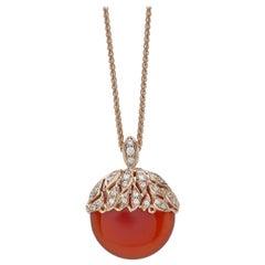 18 Carat Pink Gold Round Cut Diamonds and Carnelian Pendant Necklace