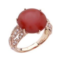 18 Carat Pink Gold Round Cut Diamonds and Carnelian Ring