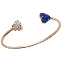 18 Carat Pink Gold Round Cut Diamonds and Lapis Lazuli Bangle