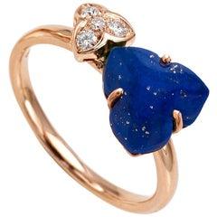 18 Carat Pink Gold Round Cut Diamonds and Lapis Lazuli Ring