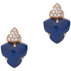 18 Carat Pink Gold Round Cut Diamonds and Lapis Lazuli Stud Earrings