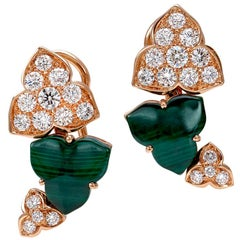18 Carat Pink Gold Round Cut Diamonds and Malachite Clip-On Earrings