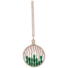 18 Carat Pink Gold Round Cut Diamonds and Malachite Pendant Necklace