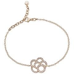 18 Carat Pink Gold Round Cut Diamonds Chain Bracelet