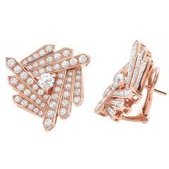 18 Carat Pink Gold Round Cut Diamonds Geometrical Design Earrings