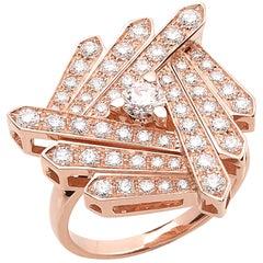 18 Carat Pink Gold Round Cut Diamonds Geometrical Design Ring