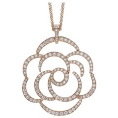 18 Carat Pink Gold Round Cut Diamonds Pendant Necklace