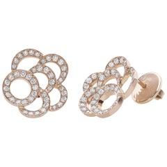 18 Carat Pink Gold Round Cut Diamonds Stud Earrings