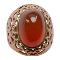 18 Carat Ring with a Large Carnelian