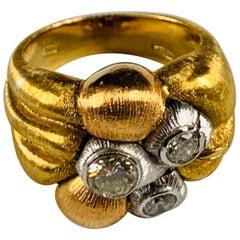 18 Carat Rose and White Gold Diamond Ring