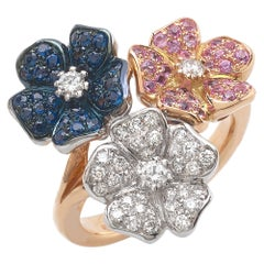 18 Carat Rose and White Gold Round Cut Diamonds Blue and Pink Sapphires