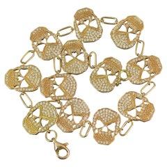 18 Carat Rose Gold 2 Carat Diamond Skull Link Bracelet