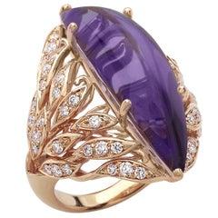 18 Carat Rose Gold Amethyst Round Brilliant Cut Diamonds Cocktail Ring