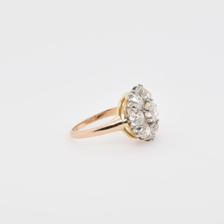 Victorian Old Cut Diamond Cluster Ring in 18ct Rose Gold and Sterling Silver, Centre Old Cut 1.01ct JVS2, 8 Old Cut diamonds 3.20ct total JVS-SI Ring size - 9 US - Can be resized