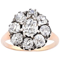 18 Carat Rose Gold and Sterling Silver Victorian Old Cut Diamond Cluster Ring