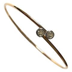 18 Carat Rose Gold Diamond Bangle Bracelet