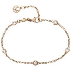 18 Carat Rose Gold Diamond Chain Bracelet