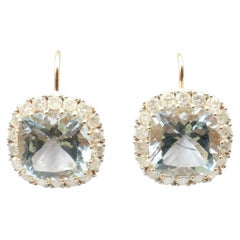 18 Carat Rose Gold High Level Natural Aquamarine and Diamond Earrings