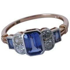 18 Carat Rose Gold Ladies Art Deco Style Ceylon Sapphire and Diamond Dress Ring