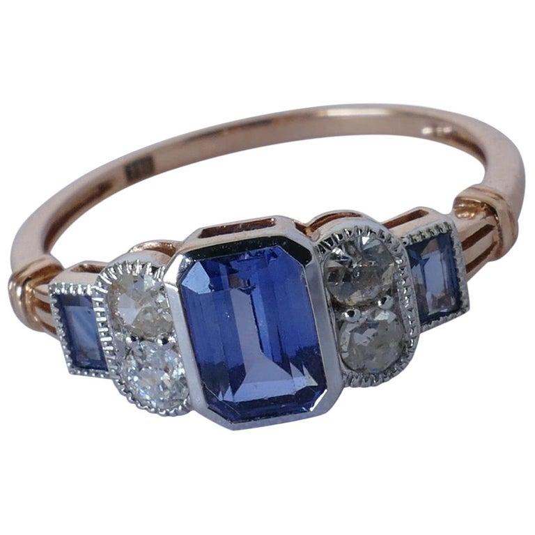 18 Carat Rose Gold Ladies Art Deco Style Ceylon Sapphire And Diamond Dress Ring For Sale At 1stdibs