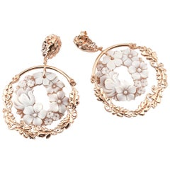 18 Carat Rose Gold-Plated 925 Sterling Silver Sea Shell Cameo Earrings