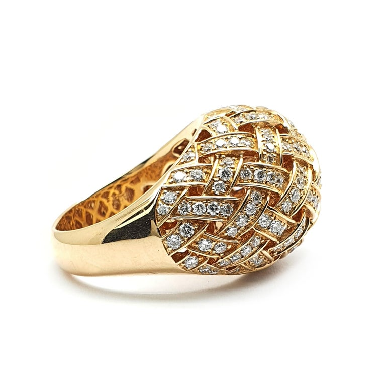 Contemporary 18 Carat Rose Gold Ring with a Bombe Open Worked Model Occupied with Diamonds For Sale