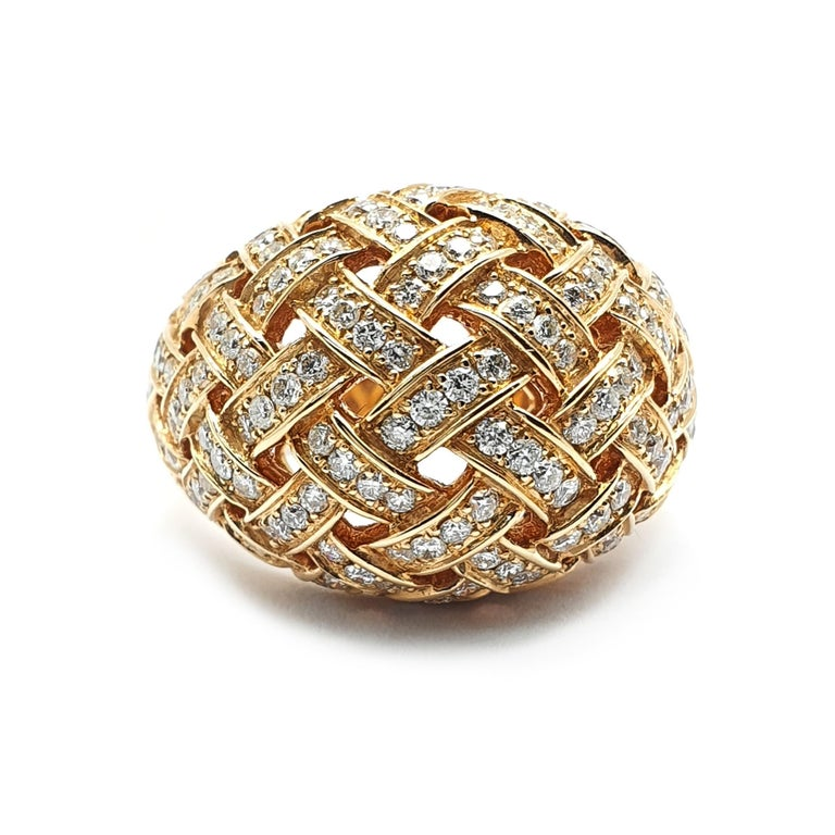 Rose Cut 18 Carat Rose Gold Ring with a Bombe Open Worked Model Occupied with Diamonds For Sale