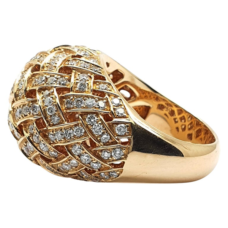18 Carat Rose Gold Ring with a Bombe Open Worked Model Occupied with Diamonds For Sale