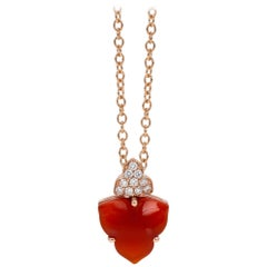 18 Carat Rose Gold Round Brilliant Cut Diamonds and Carnelian Pendant Necklace
