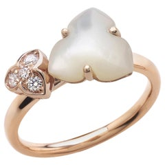 18 Carat Rose Gold Round Brilliant Cut Diamonds and Mother of Pearl Ring