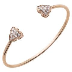 18 Carat Rose Gold Round Cut Diamond Bangle Bracelet