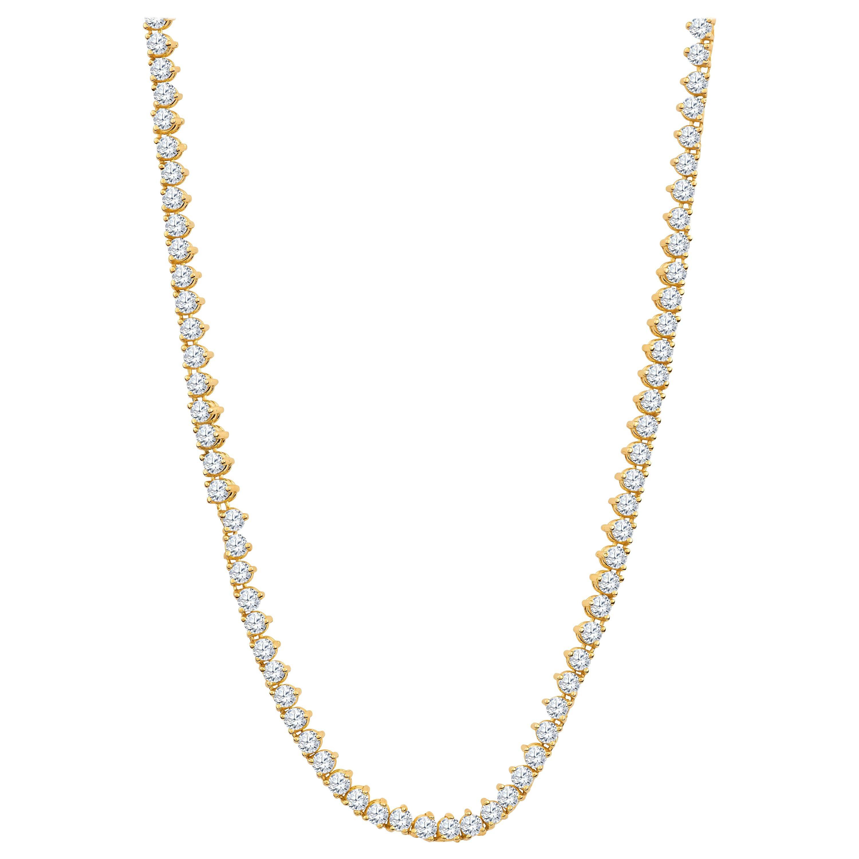 18 Carat Round Brilliant Cut Diamond Eternity Necklace, 14 Karat Yellow Gold