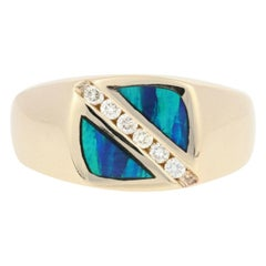 .18 Carat Round Brilliant Diamond and Opal Inlay Ring 14 Karat Yellow Gold Men's