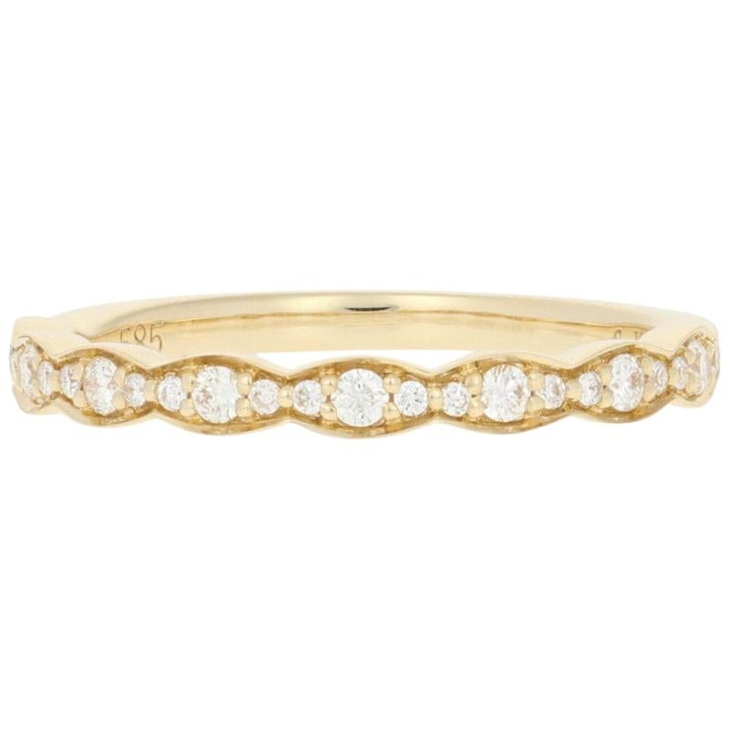 .18 Carat Round Brilliant Diamond Ring, 14 Karat Yellow Gold Wedding Band