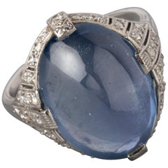 18 Carat Sapphire and Diamonds French Art Deco Ring