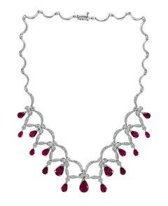 18 Carat Tear Drop Rubelite and Diamonds Necklace 14 Karat White Gold