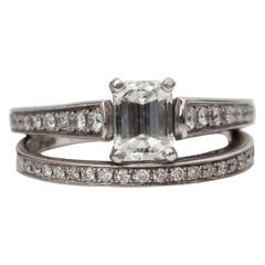 1.8 Carat Total Emerald Diamond Engagement Ring and Wedding Band