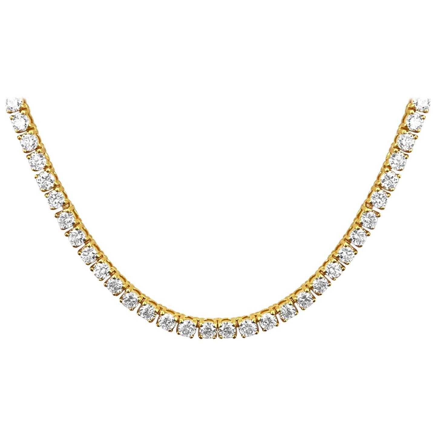 18 Carat VVS Diamond Tennis Necklace 14 Karat Yellow Gold Unisex Necklace