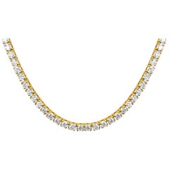 18 Carat VVS Diamond Tennis Necklace 14 Karat Yellow Gold Unisex Necklace