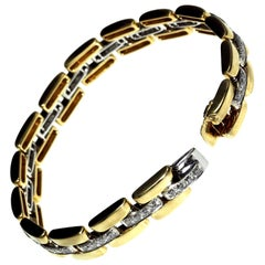 18 Carat White and Yellow Gold Diamond Pave Link Chain Bracelet