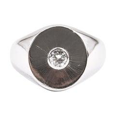 18 Carat White Gold 0.22 Carat Round Brilliant Cut Diamond Men's Signet Ring
