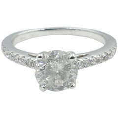 "18 Carat White Gold 1.24 Carat ""F"" Color Diamond Engagement Ring"