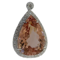 18 Carat White Gold 39.98 Carat Morganite and Diamond Pendant