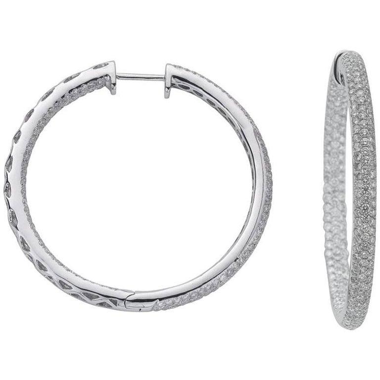 18 Carat White Gold 4 80 Carat Diamond Hoop Earrings For