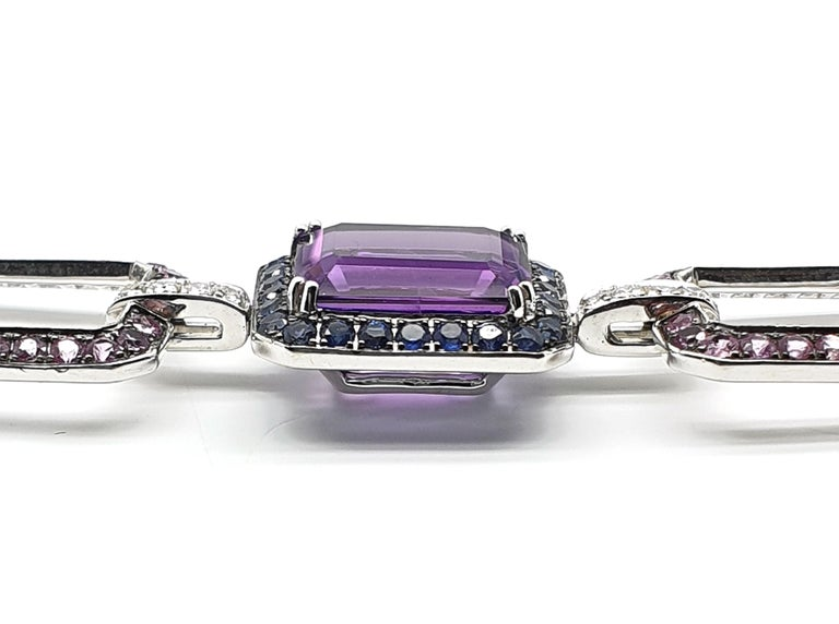 Emerald Cut 18 Carat White Gold Amethyst Bracelet with Blue-Lilac, Pink Corunds and Diamonds For Sale